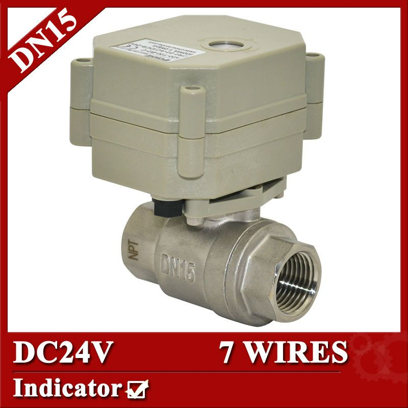 1 2 Dc24v 7 Wires Cr702 Electric Water Valve With Ss304 Valve Body Dn15 Motorized Water Valve For Drain Water Electric Water Valve Water Valves Control Valves