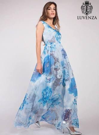 Sleeveless Blue Flower Print Mulberry Silk Chiffon Evening Dress ...