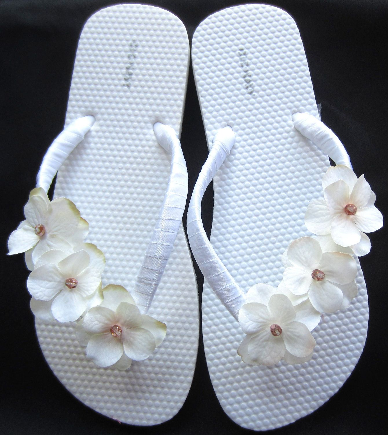 The Trista White Flip Flop Sandal With Ivory Flowers Great For