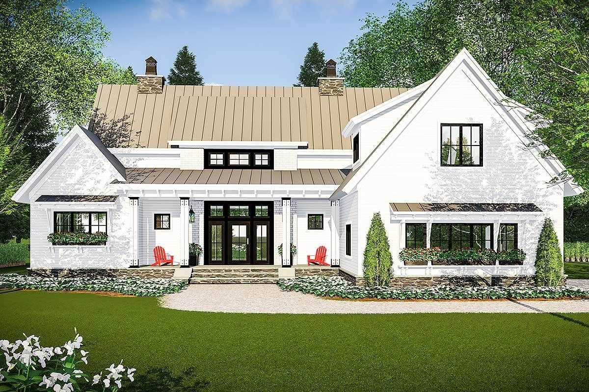 Modern Farmhouse with Vaulted Master Suite - 14661RK   Architectural Designs - House Plans #dreamhouses