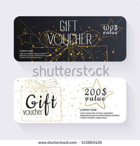 Gift voucher template with gold background Background design - coupon voucher template