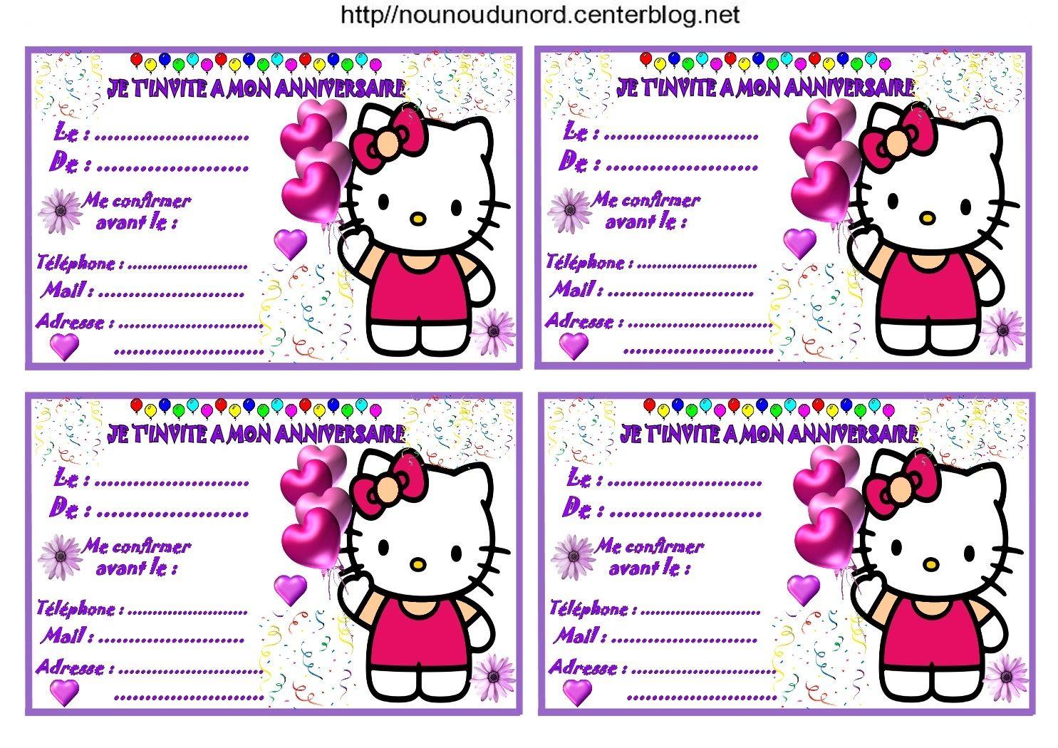 Etiquettes, invitations Hello Kitty pour anniversaire   Anniversaire hello kitty, Carte ...