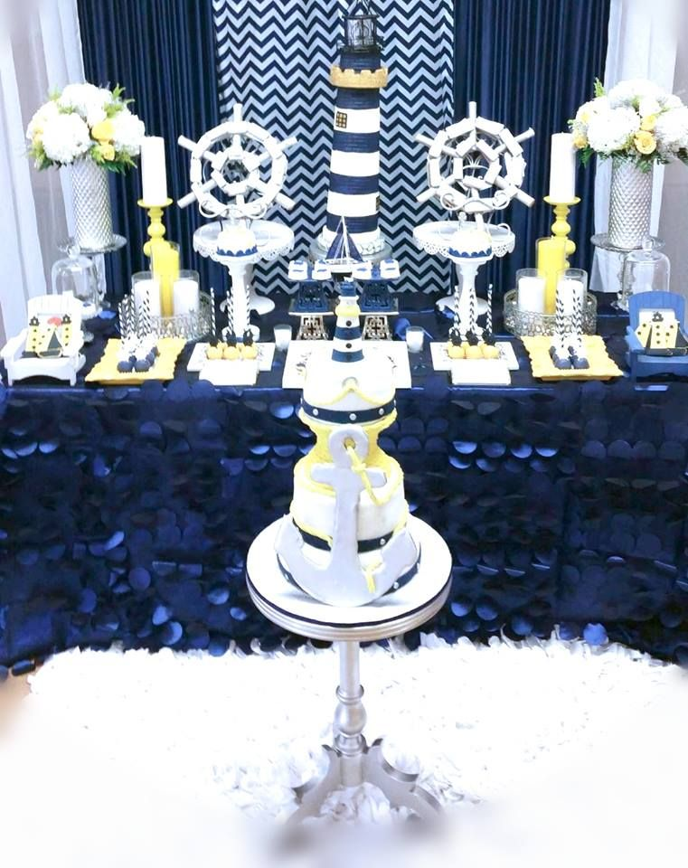 Blue And White Nautical Baby Shower Dessert Display