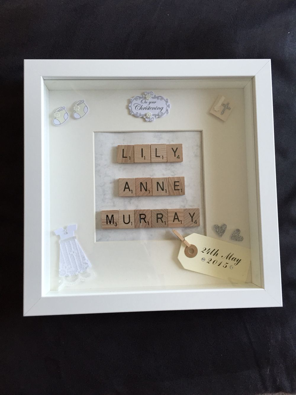Custom made christening frame, made to order | Shadow boxes ...