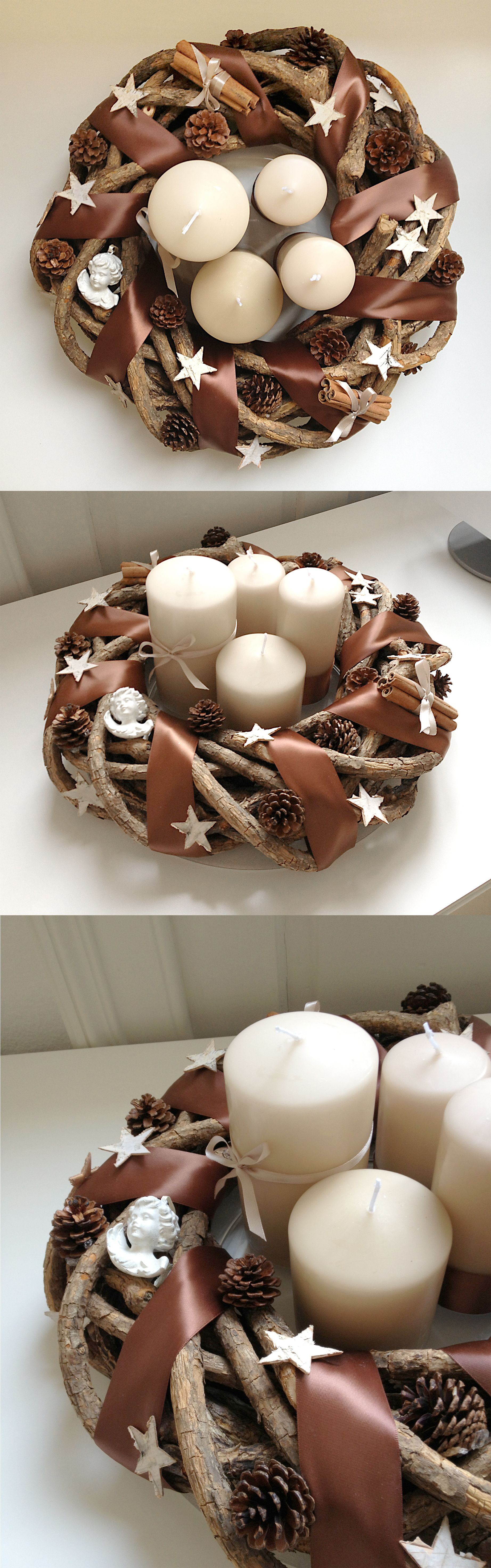 Do it yourself Advent Wreath ~ would look great with lavender & purple candles too!