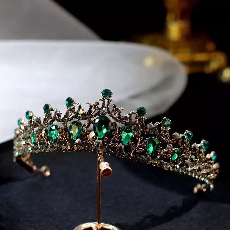 Baroque Vintage Gold Black Green Crystal Bridal Tiaras Crowns Pageant Prom Rhinestone Veil Tiara Headbands Wedding Hair Jewelry,Wedding