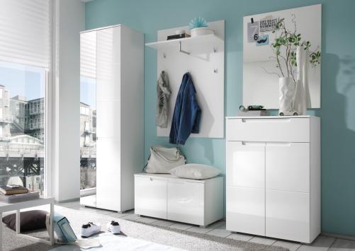 Garderoben-set Weiss Hochglanz Woody 32-00090 Holz Modern - interieur in weis und holz modern design