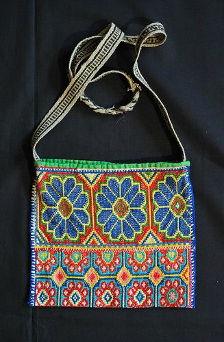 "Morral Huichol Bag, Mexico - Colorful, embroidered Huichol shoulder bag or ""morral"".   © 2012 Teyacapan"