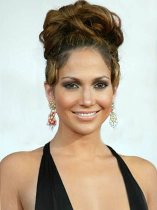 Wedding Hairstyles With Braids And Bangs : Jennifer lopez tredy celebrities high updos hairstyles get