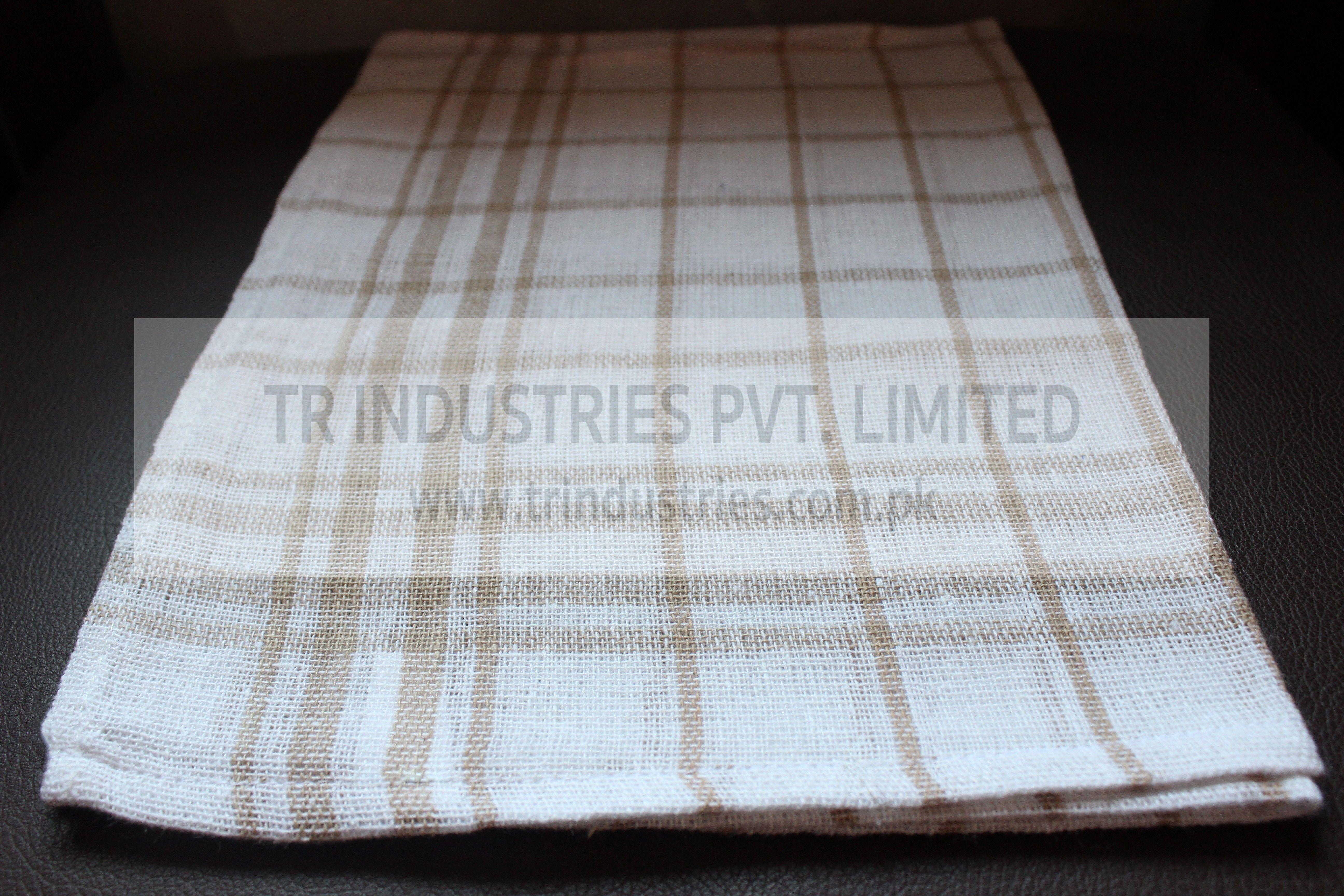 100% Cotton Yarn Dyed Kitchen Towel Medium Check Beige White ...