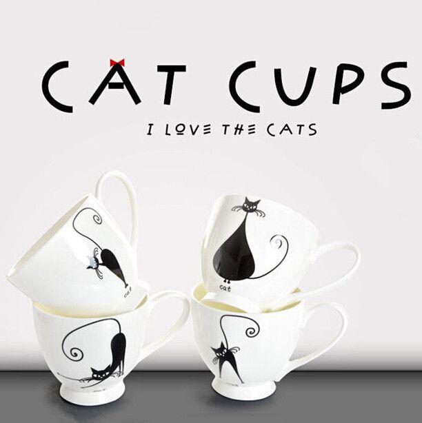 450ml ceramic white cat mug black cat mugs white bone china mugs creative ceramic lucky cat mug white