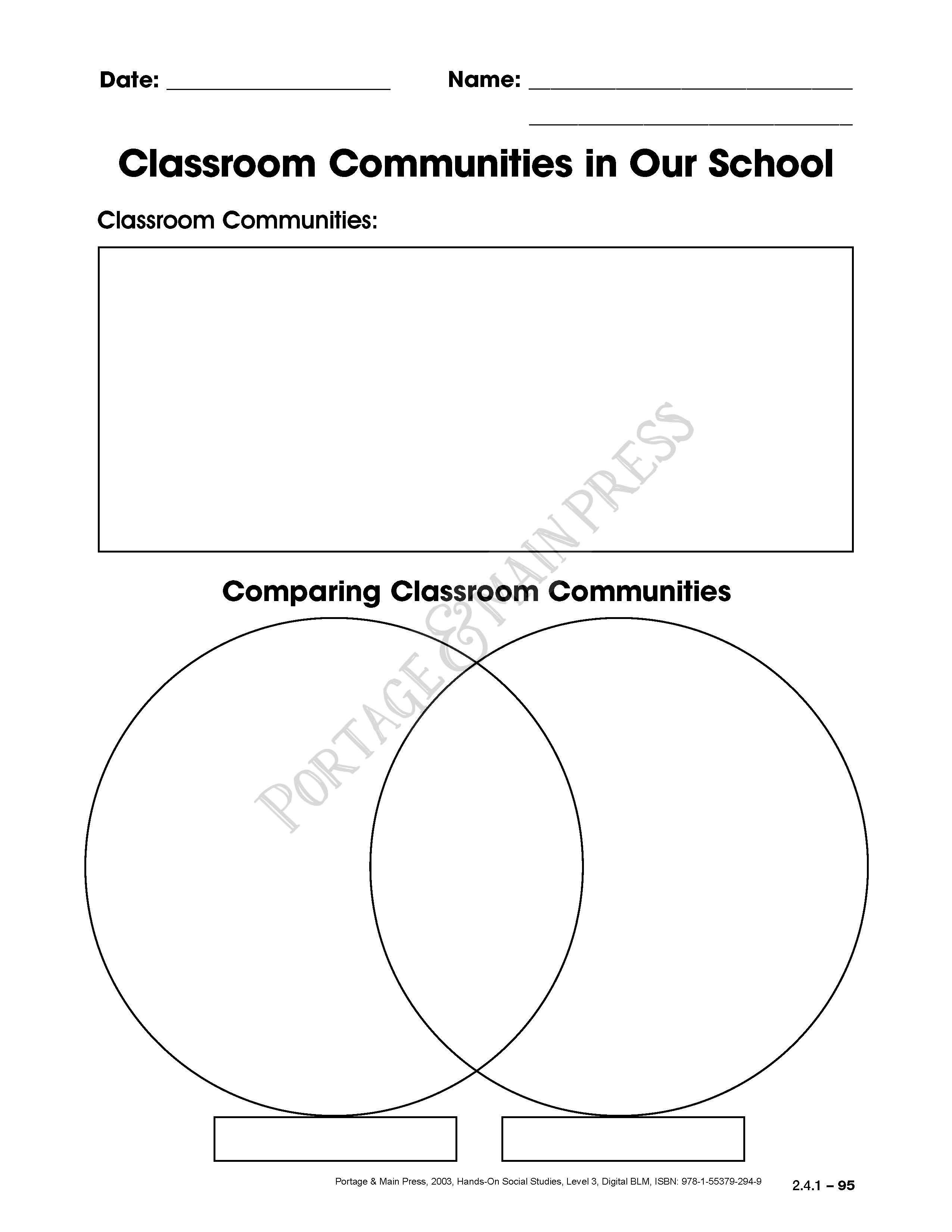 Grade 3 Social Studies - Classroom Communities activity sheet | 3rd ...