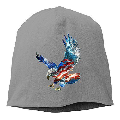 American Flag Eagle Print Women Knit Hat Soft Stretch Beanies Skull Cap  DeepGrey -- Want ffe5b33eaba