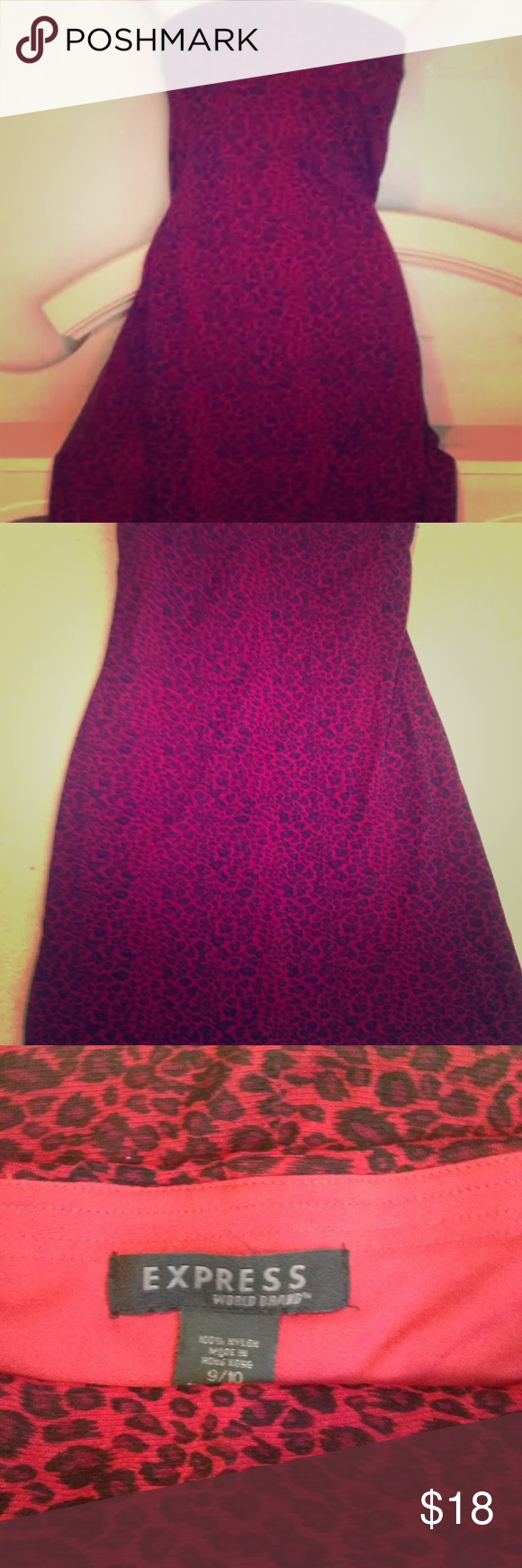 Express strapless red cheeta dress 9/10 Size 9/10 red and black ...