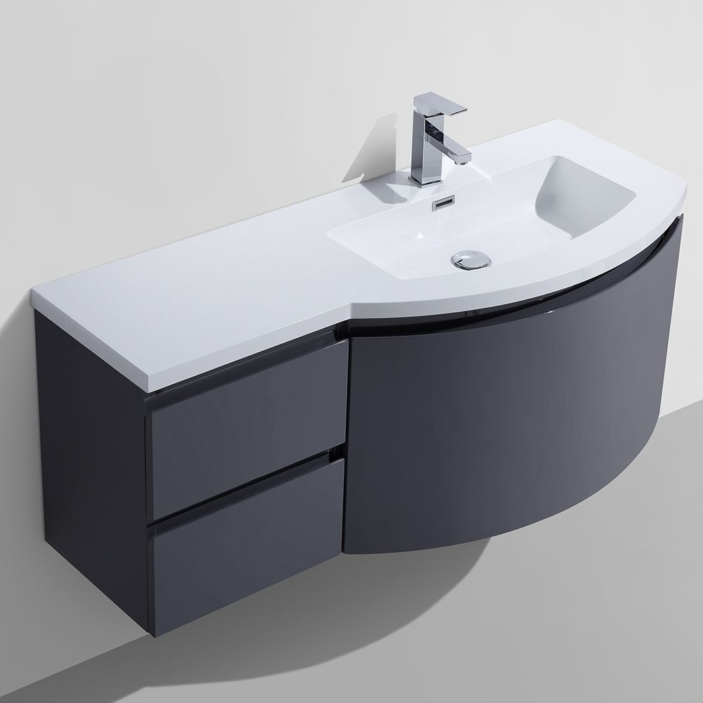 Wyndham collection amare 48 quot dove gray single vanity white man made - Alya Bath At 8110 Rs 48 Single Modern Wall Mount Bathroom Vanity In