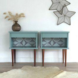 table de chevet vintage en paire coloris bleu chouette fabrique la boutique de meubles. Black Bedroom Furniture Sets. Home Design Ideas