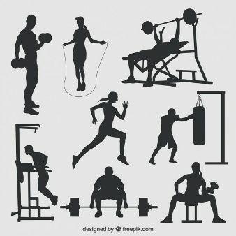 Silhueta Sports Gym Art Gym Design Fitness Wall Art