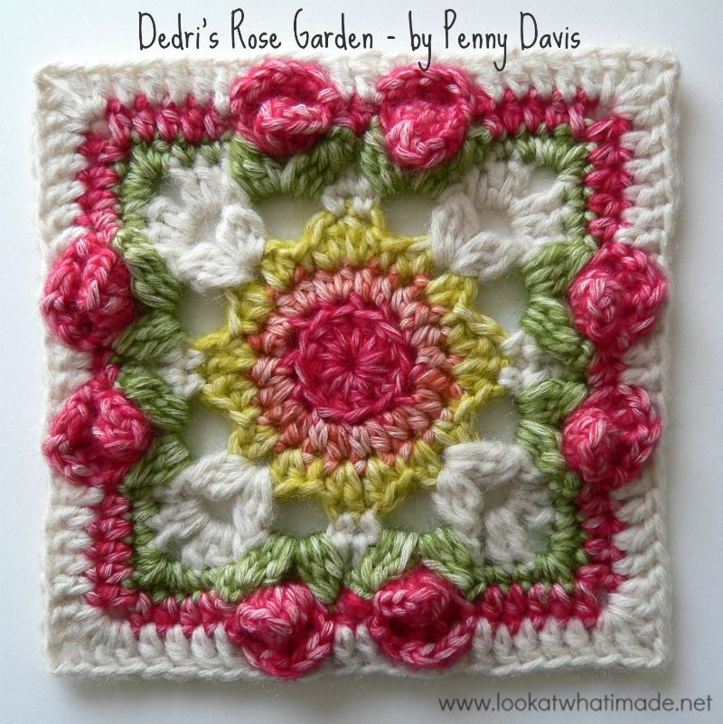Lovely Crochet Afghan Squares for a Flower Afghan – 24 free patterns ...