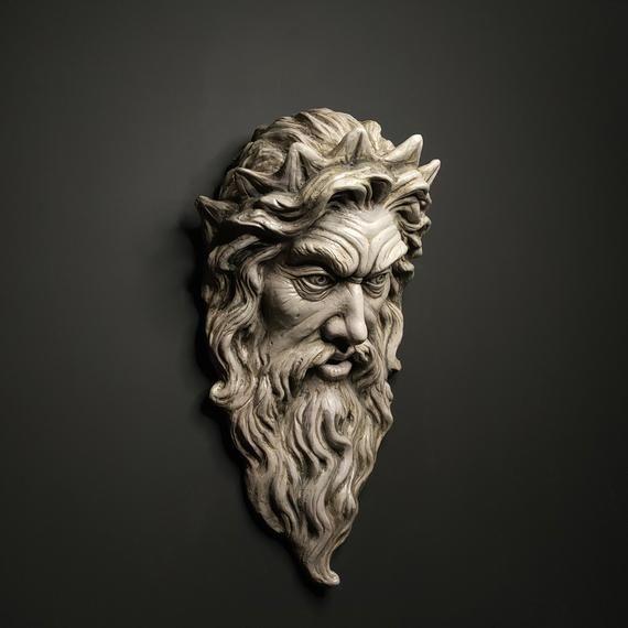 Zeus Wall Sculpture Handmade Wall Art Zeus Figure Greek Etsy Wall Sculptures Sculpture Art