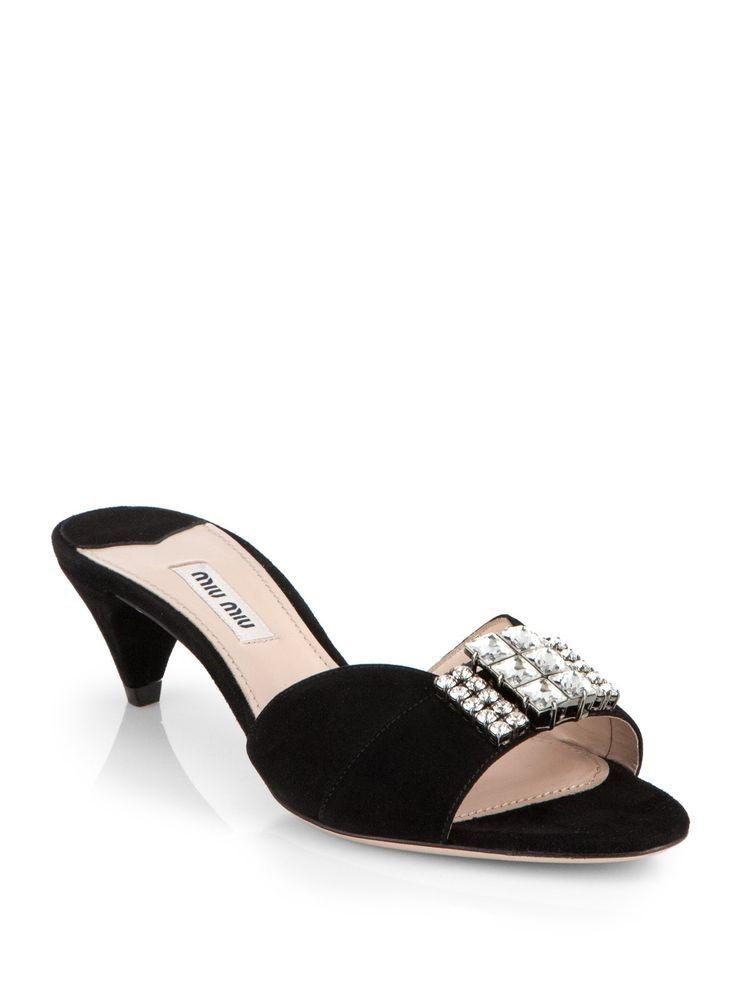 b4a2476d216d MIU MIU Swarovski Crystal Suede Kitten-Heel Slides IT Size 38/8 NIB $840 # MIUMIU #OpenToe