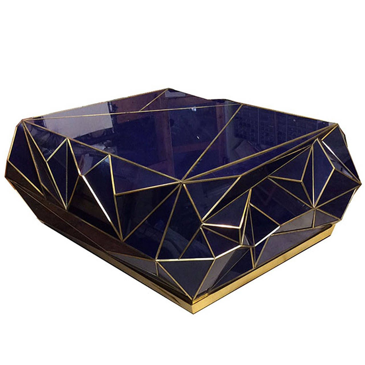 Geometric Glass Coffee Table: Contemporary Brass-Trimmed Glass Geometric Coffee Table