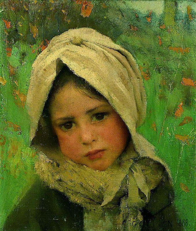 green - verde - little girl - criança - George Clausen