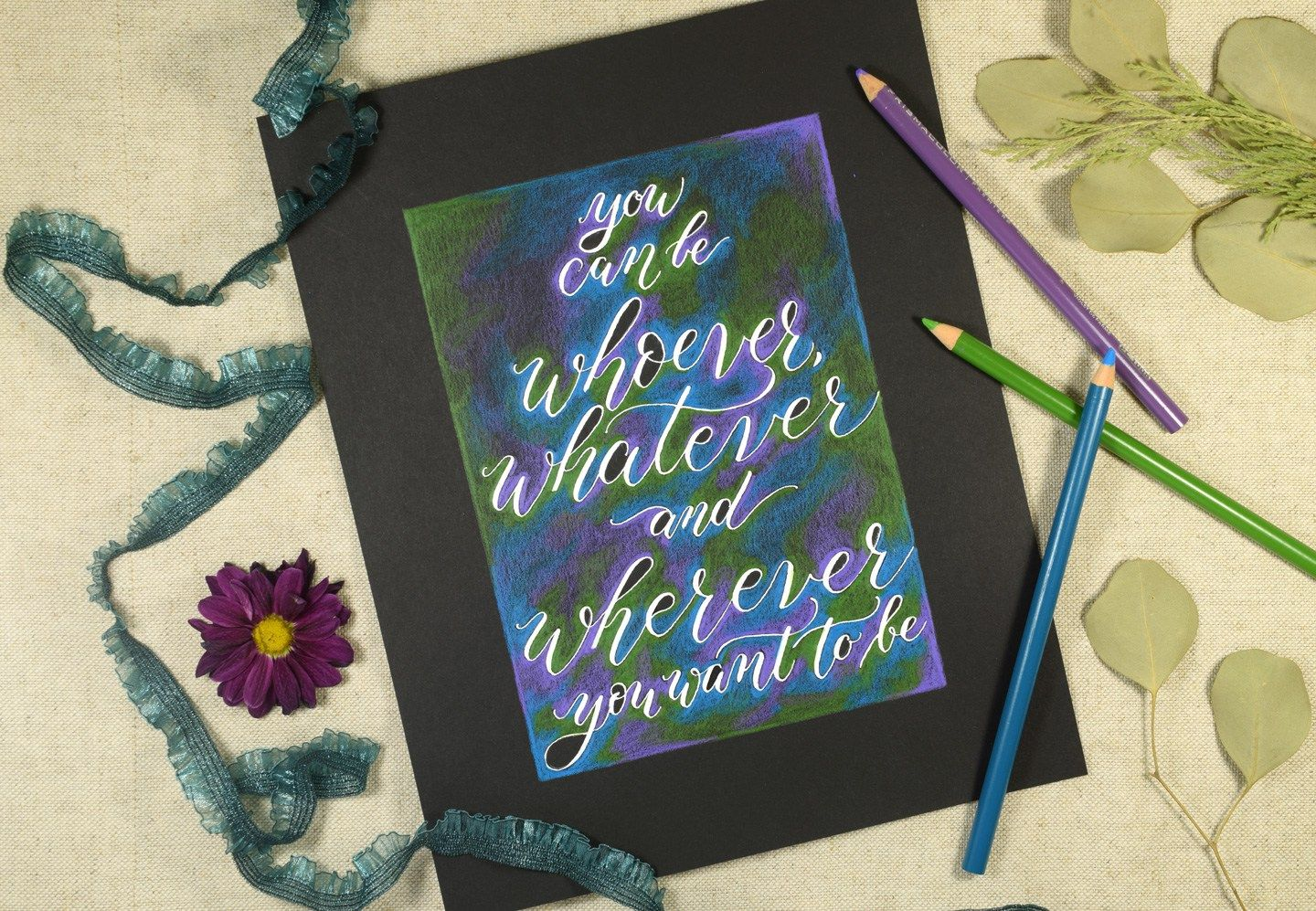 Simple Colored Pencil Calligraphy Tutorial