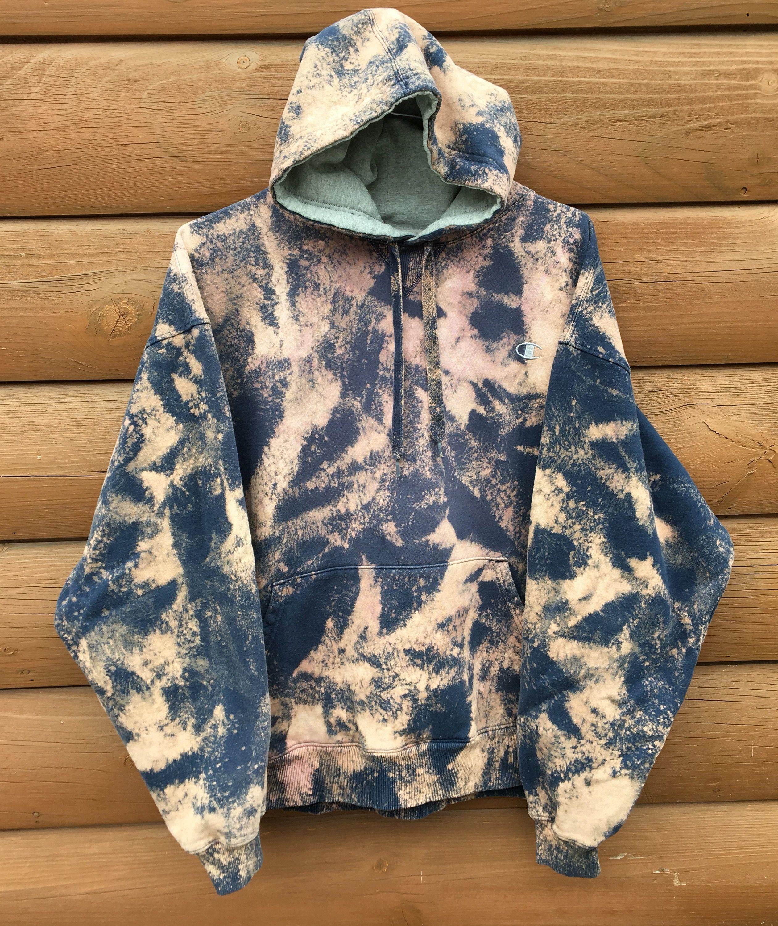 Champion navy hooded sweatshirt custom bleacheddistressed