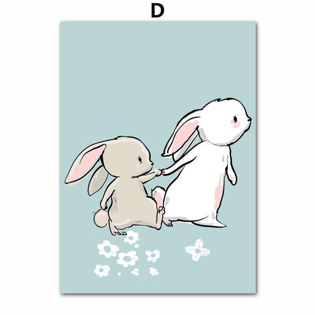 Cartoon Rabbit Bunny Art Canvas