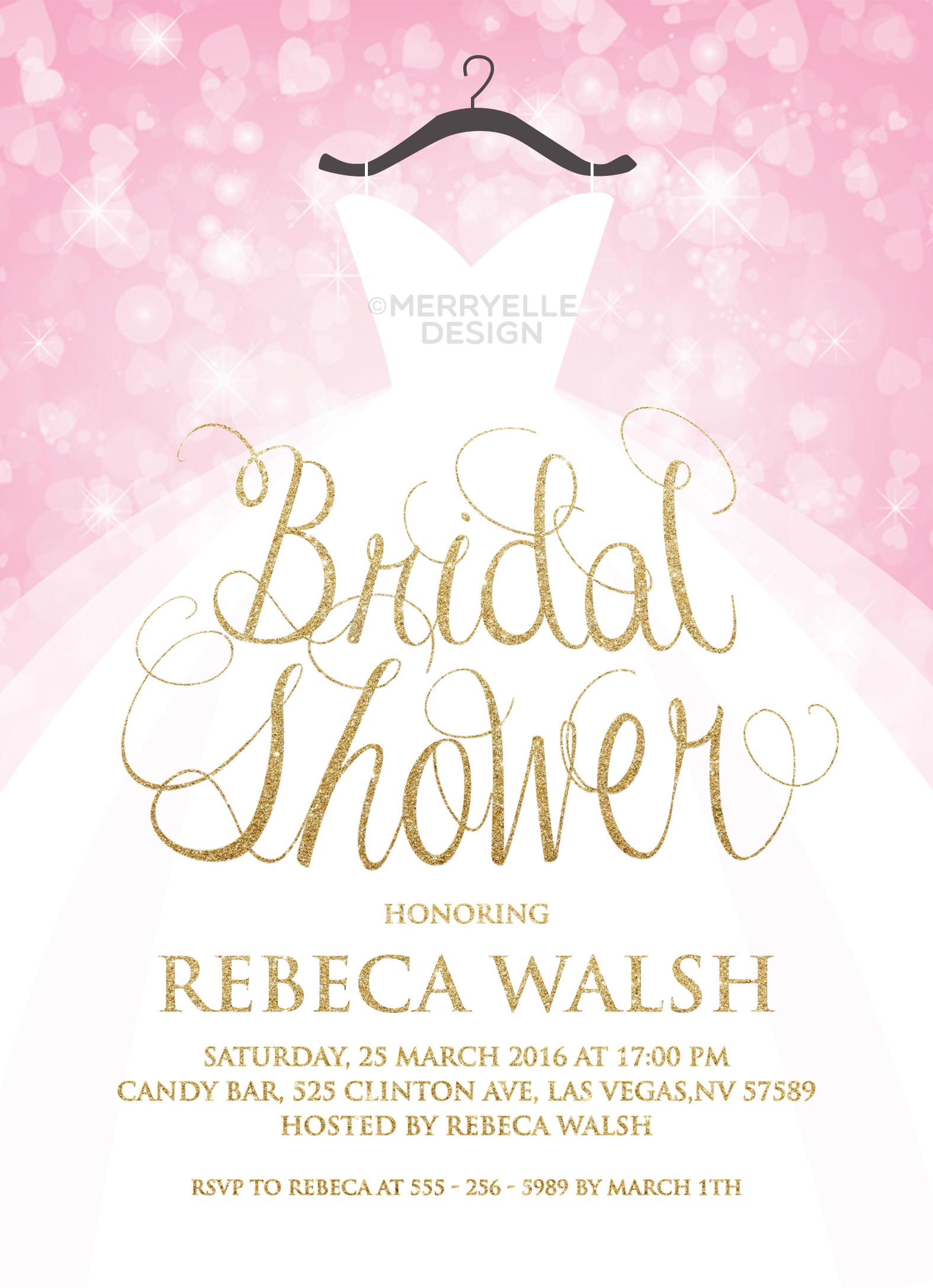 Wedding dress bridal shower invitation / Pink and gold bridal shower ...