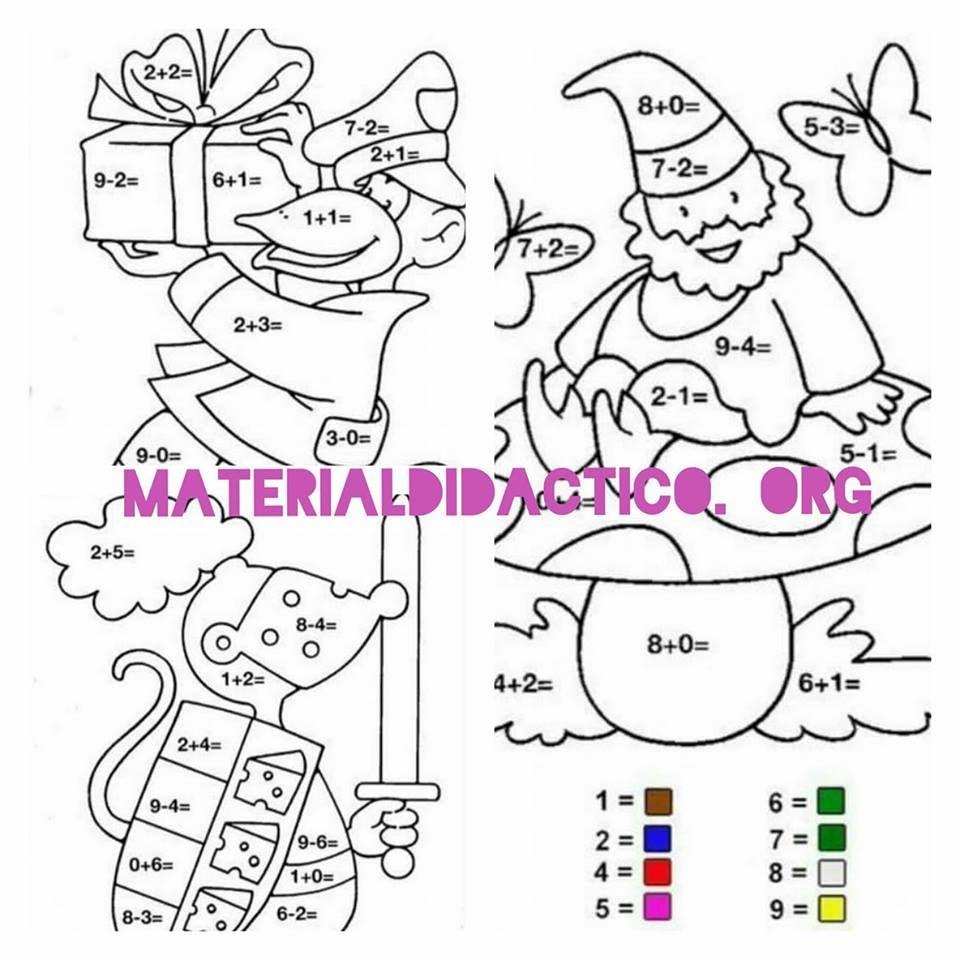 Dibujos para colorear  suma o resta  Actividades Educativas y