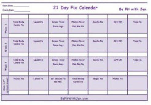 21 Day Fix Calendar