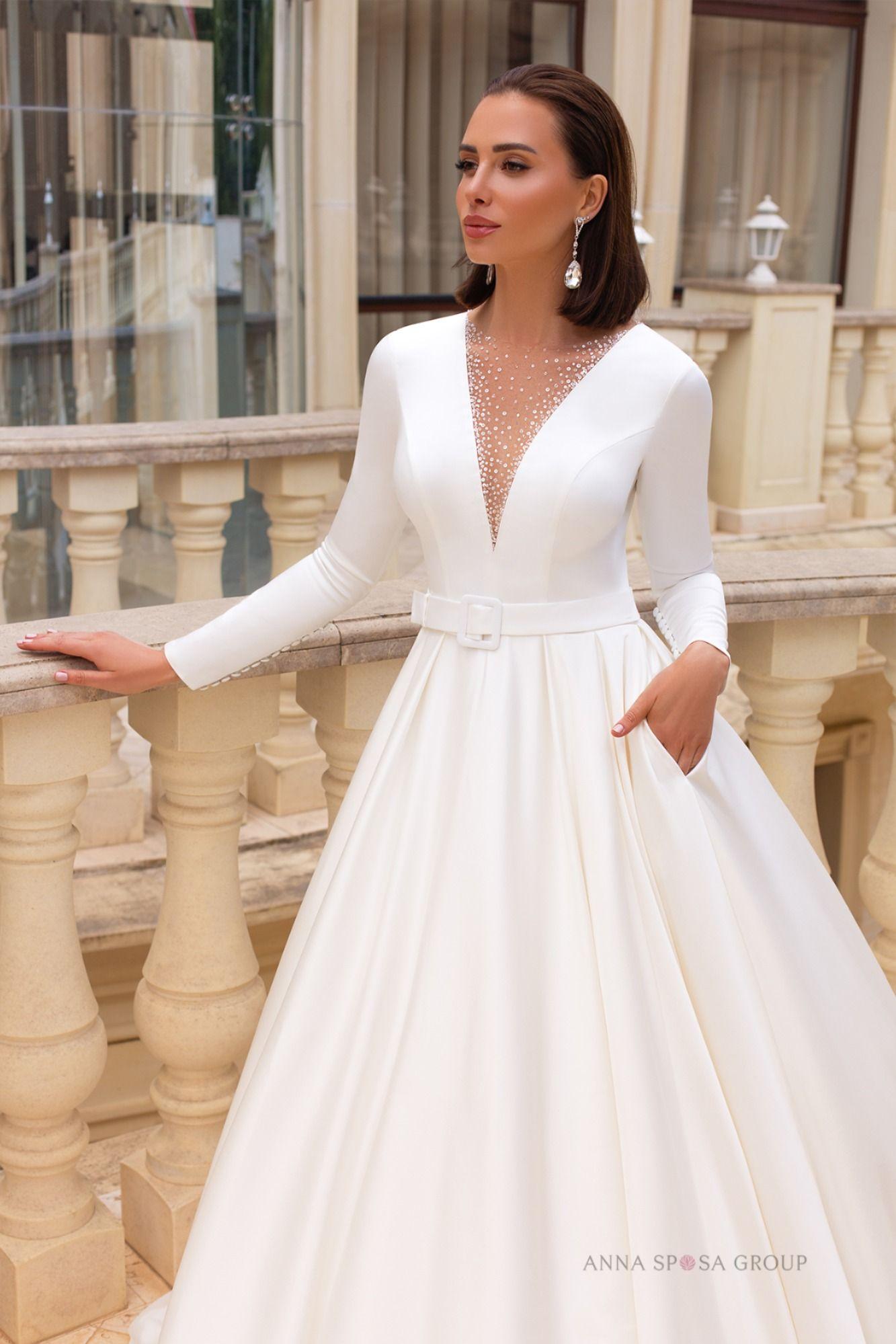 Voletta Wedding Dress Timeless Love Collection Elegant Long Sleeve Wedding Dresses Simple Long White Dress Simple White Dress [ 1999 x 1333 Pixel ]
