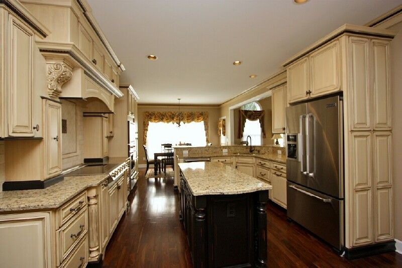 Tea stained kitchen cabs tea stained pinterest white for Pictures of white glazed kitchen cabinets