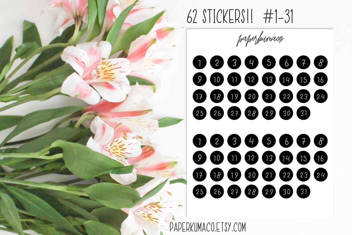 number dots bw for planners, bullet journals, erin condren ECLP, happy planner MAMBI etc. - 62 stickers by paperkumaco on Etsy https://www.etsy.com/listing/505769403/number-dots-bw-for-planners-bullet