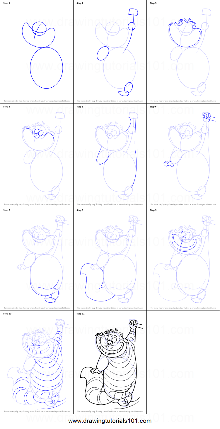 How To Draw Cheshire Cat From Alice In Wonderland Printable Step Alice In Wonderland Drawings Cat Drawing Tutorial Yoshi Drawing