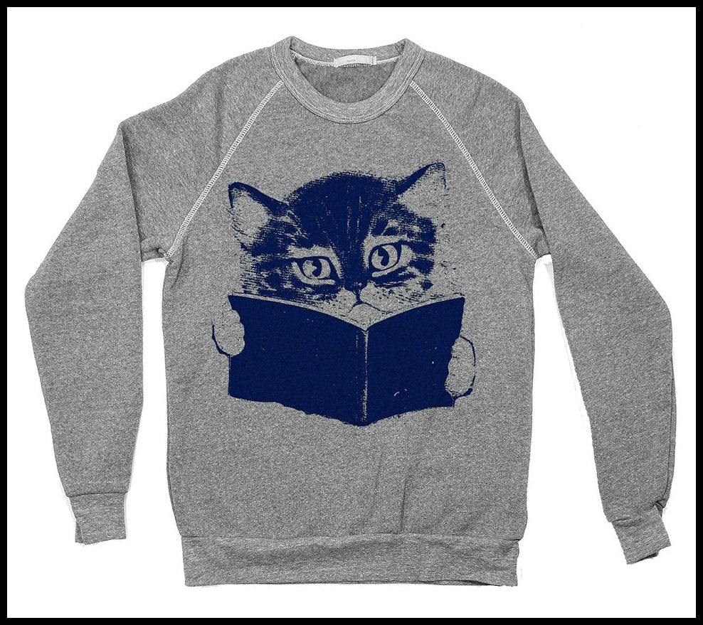e6bd805c Cozy Bookish Sweatshirts for Cold-Weather Reading: bookish cat sweatshirt