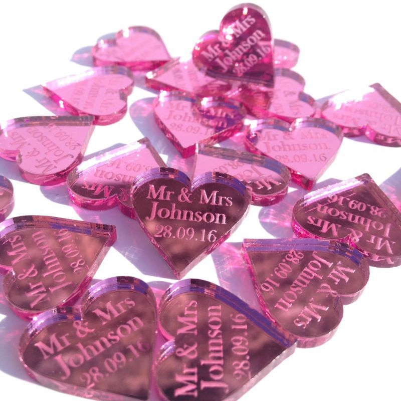 2cm Personalised Mr Mrs Love Heart Wedding Favours Table Confetti Decorations 40 Choices