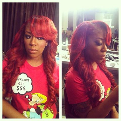 K Michelle Red Hair Bun Michelle Hair on Pinterest | K Michelle, Red Weave Hairstyles and S ...