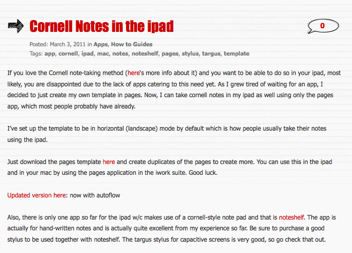 Cornell Notes In The Ipad  Cornell Notes Ipad And Note