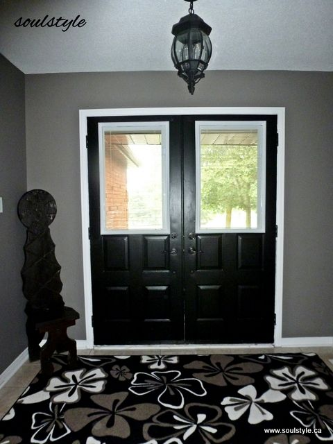 AFTER: New Window Inserts W Blinds, Painted Hardware. Black Interior Entry  Doors Look