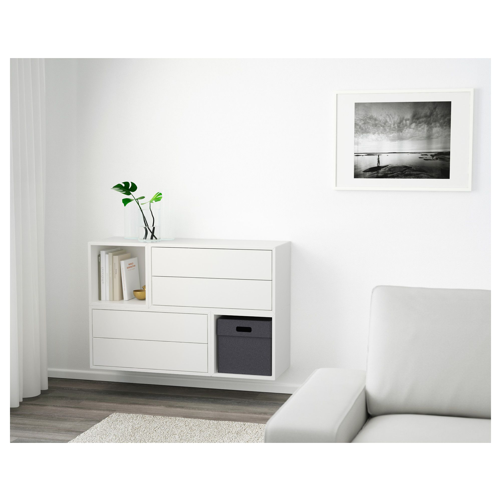 Muebles Recibidores Ikea Eket Wall Mounted Cabinet Combination White 105 X 35 X 70