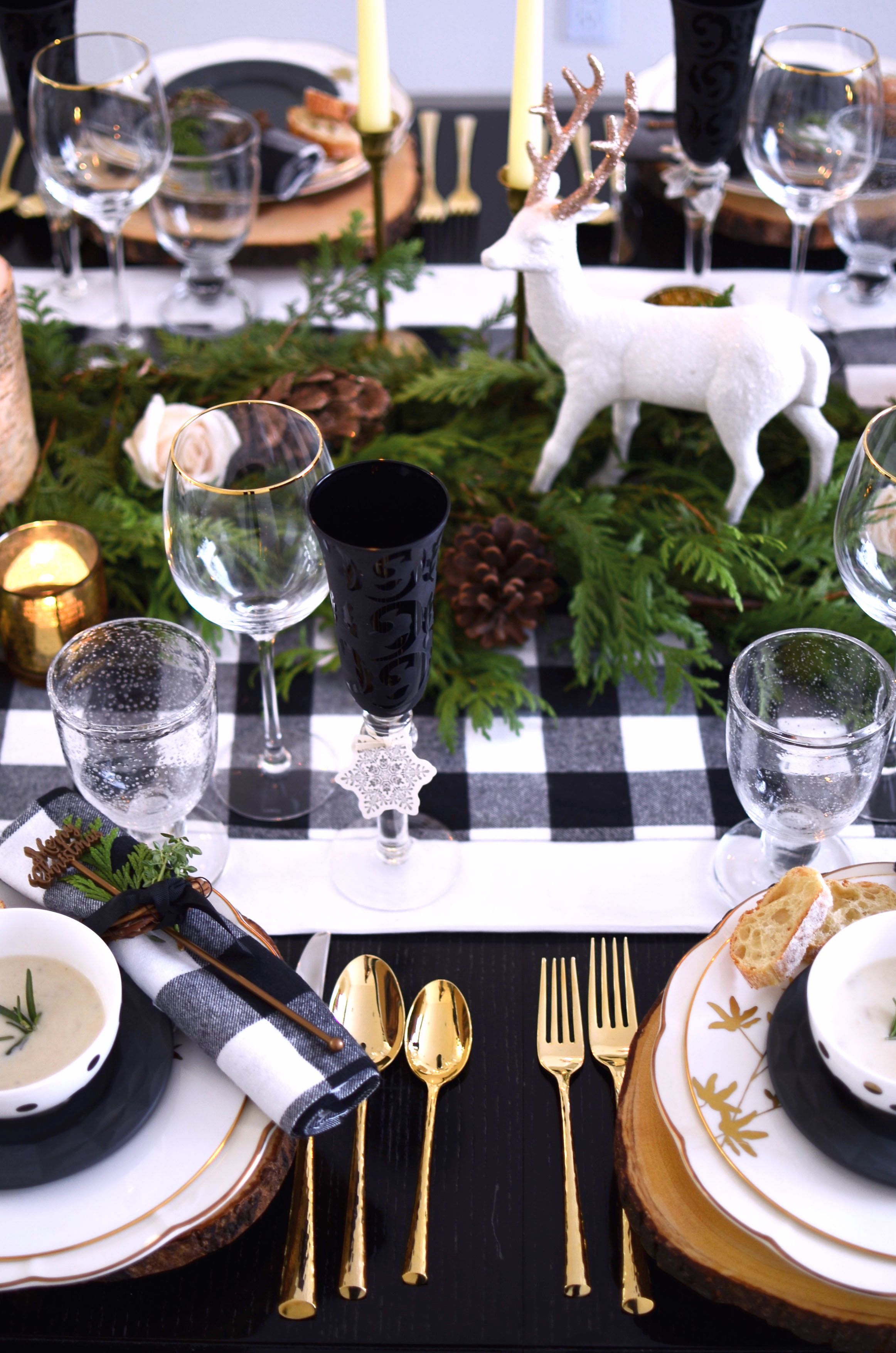 A Plaid Rustic Holiday Table Table Dine By Deborah Shearer Christmas Table Decorations Rustic Holiday Christmas Tablescapes