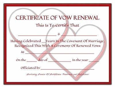 Everlasting Promises Vow Renewal Certificate Free Printable