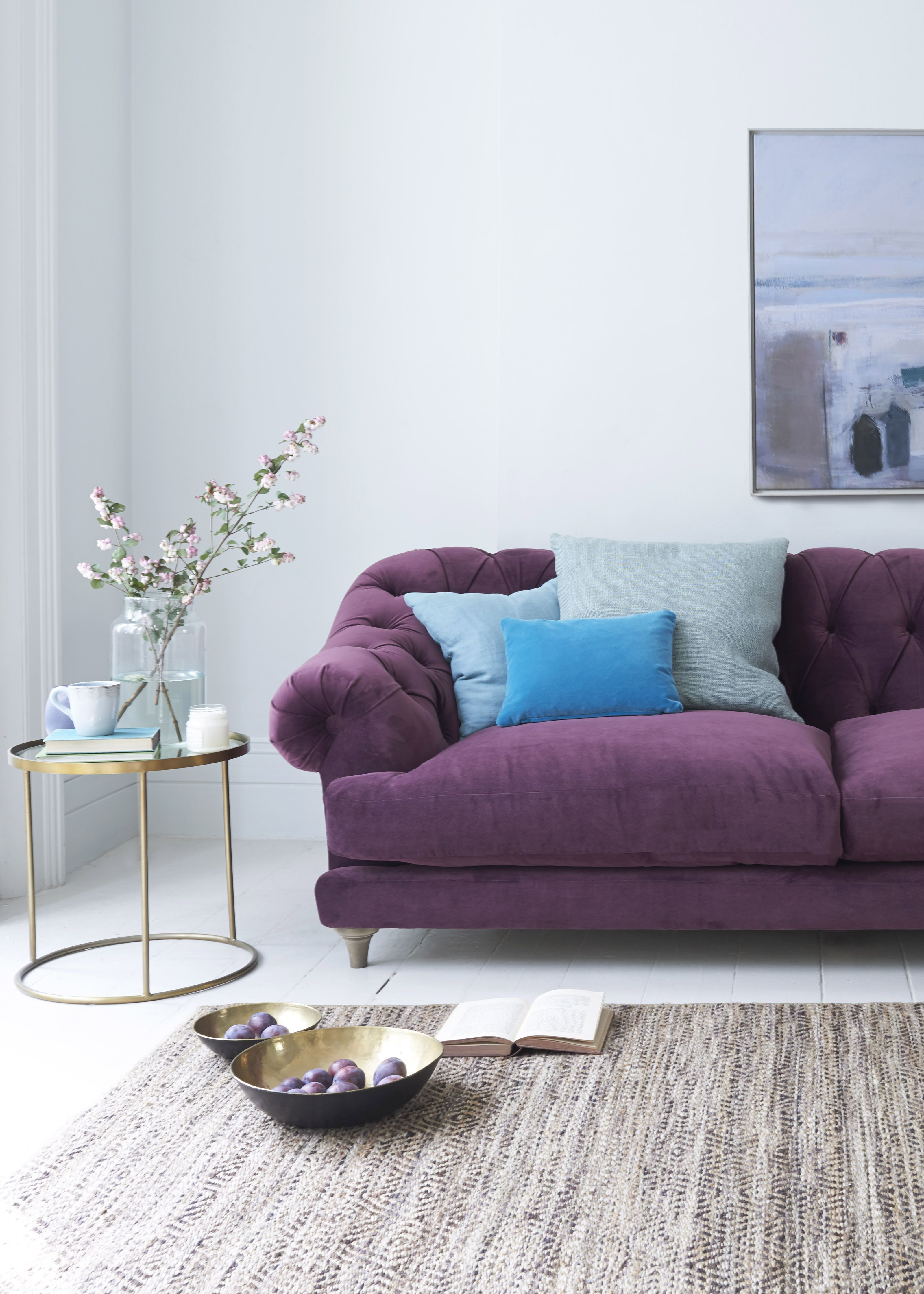 Loaf   Bagsie Sofa In Grape Clever Velvet From £1,795