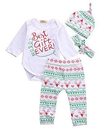 amazoncom baby boys girls toddler 4pcs christmas set bodysuits leggings headband hat outfits