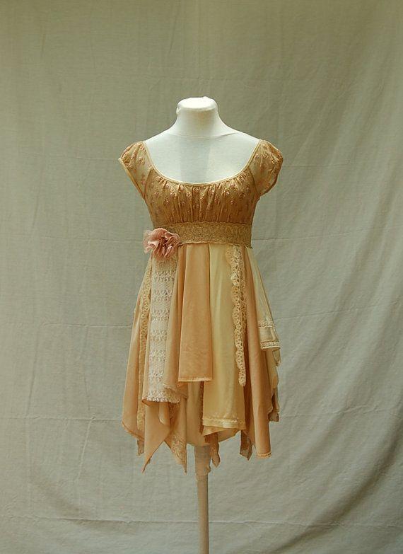 Purteeeeeeeee!!!!!!!! Tattered Fairy Woodland Babydoll Dress Boho Funky by persnickedee, $64.00
