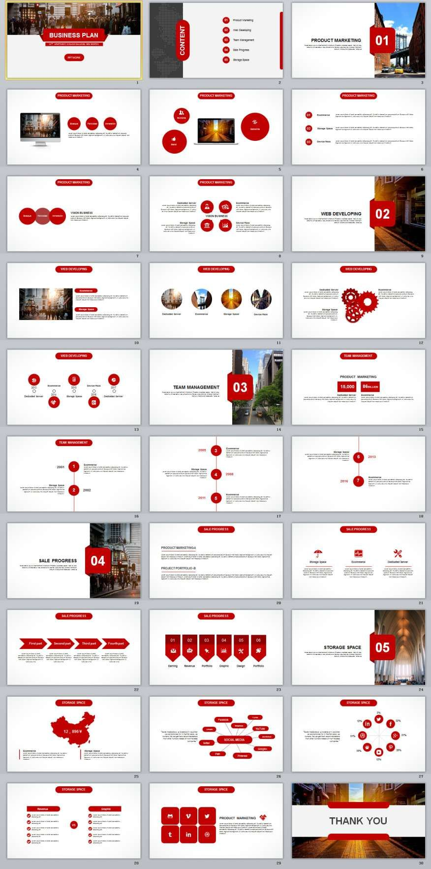 Red Business Plan PowerPoint Templates Business - Powerpoint business plan template