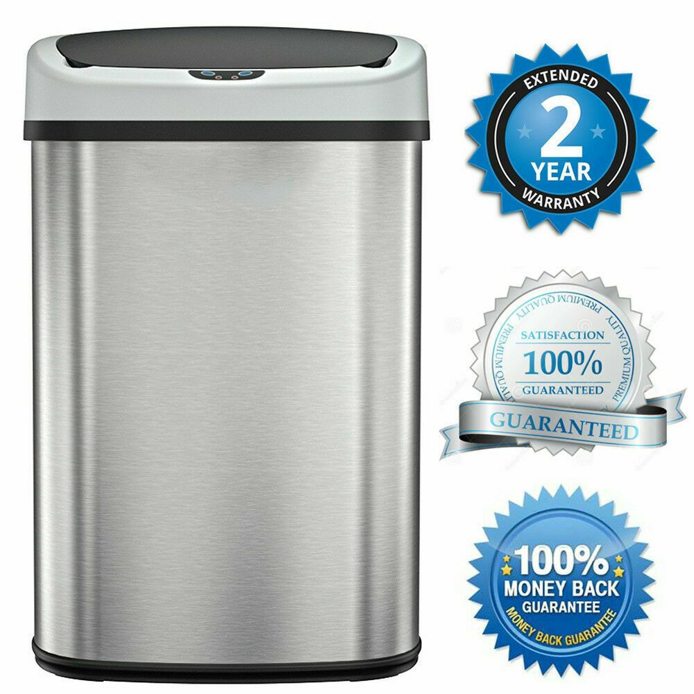 Trash Can Garbage Touchless Sensor Automatic Stainless Steel Touch Free Motion Trash Cans Ideas Of Trash Cans Tr Trash Can Garbage Can Bathroom Trash Can