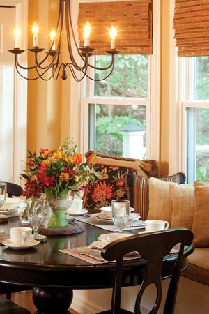 Warm Cozy Dining Room With A Window Seat Like The Window Seat And The Chandelier Farmhouse Dining Farmhouse Dining Room Farmhouse Dining Room Table